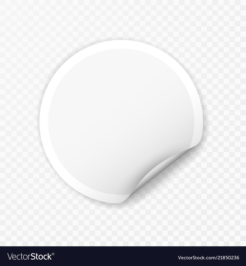 Blank round sticker with curled corners on