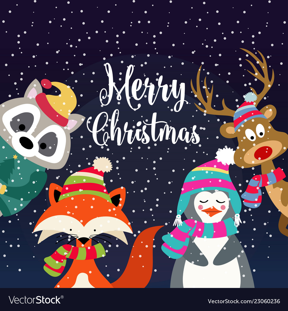 Christmas card with cute dressed animals and
