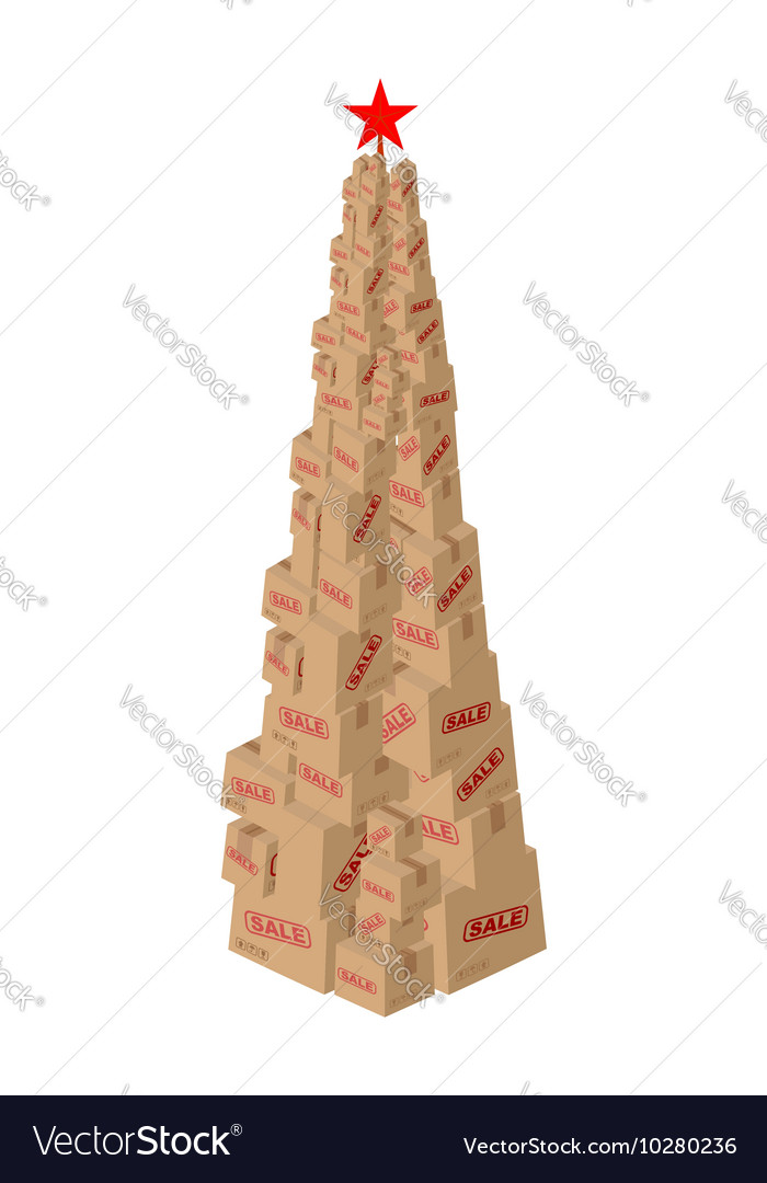 Christmas Sale cardboard boxes New Year Set of vector image