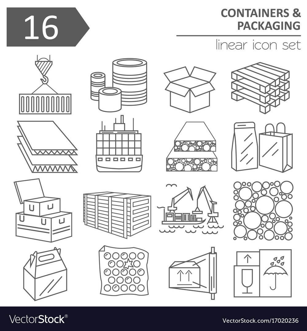 Containers and packaging icon set thin line