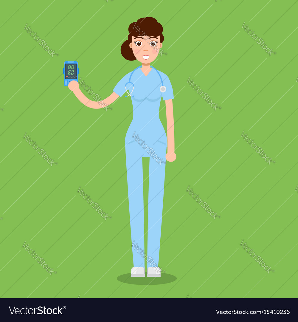 Doctor hold pulse oximeter in hand measuring vector image on VectorStock