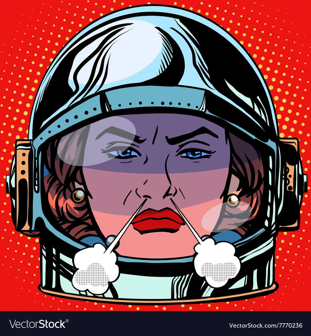 Emoticon rage boiling water Emoji face woman vector image