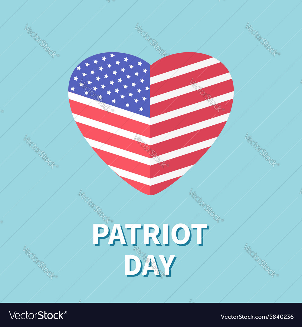 Heart shape flag Star and strip Patriot day Flat