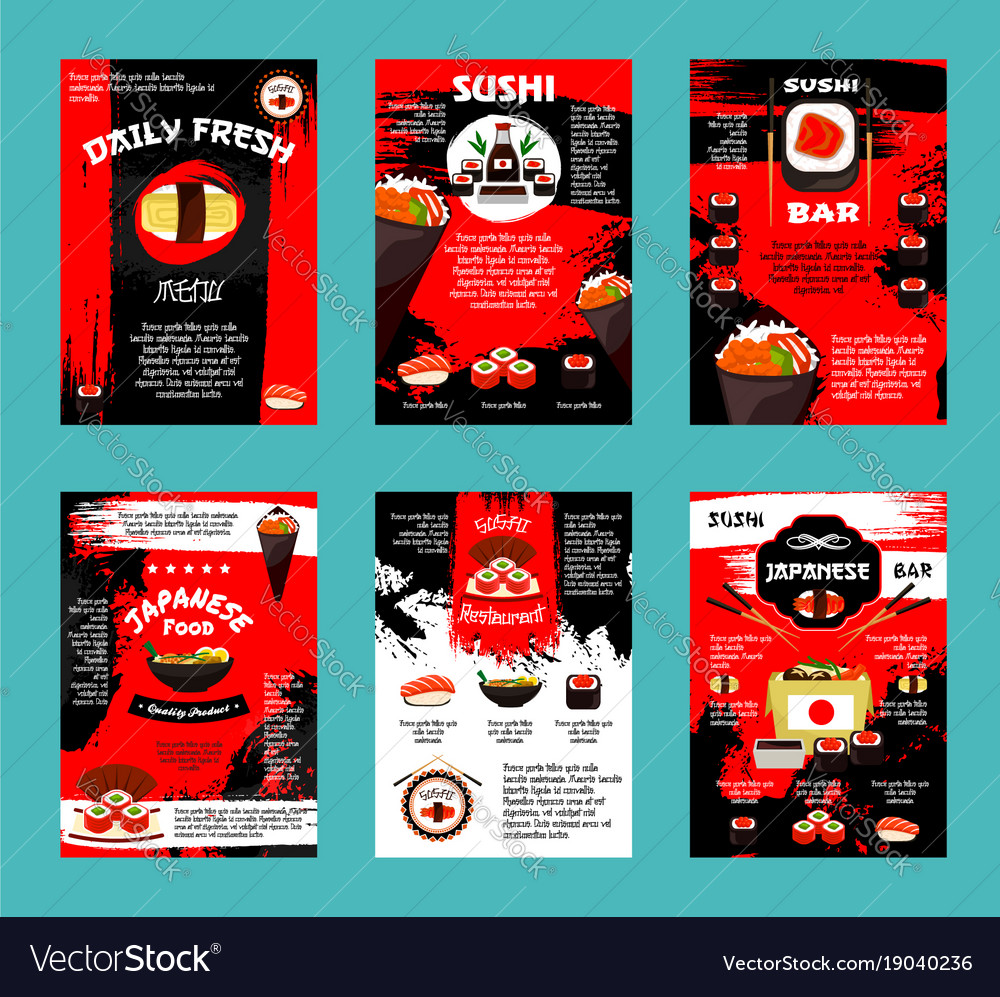 Japanese restaurant and sushi bar menu template vector image