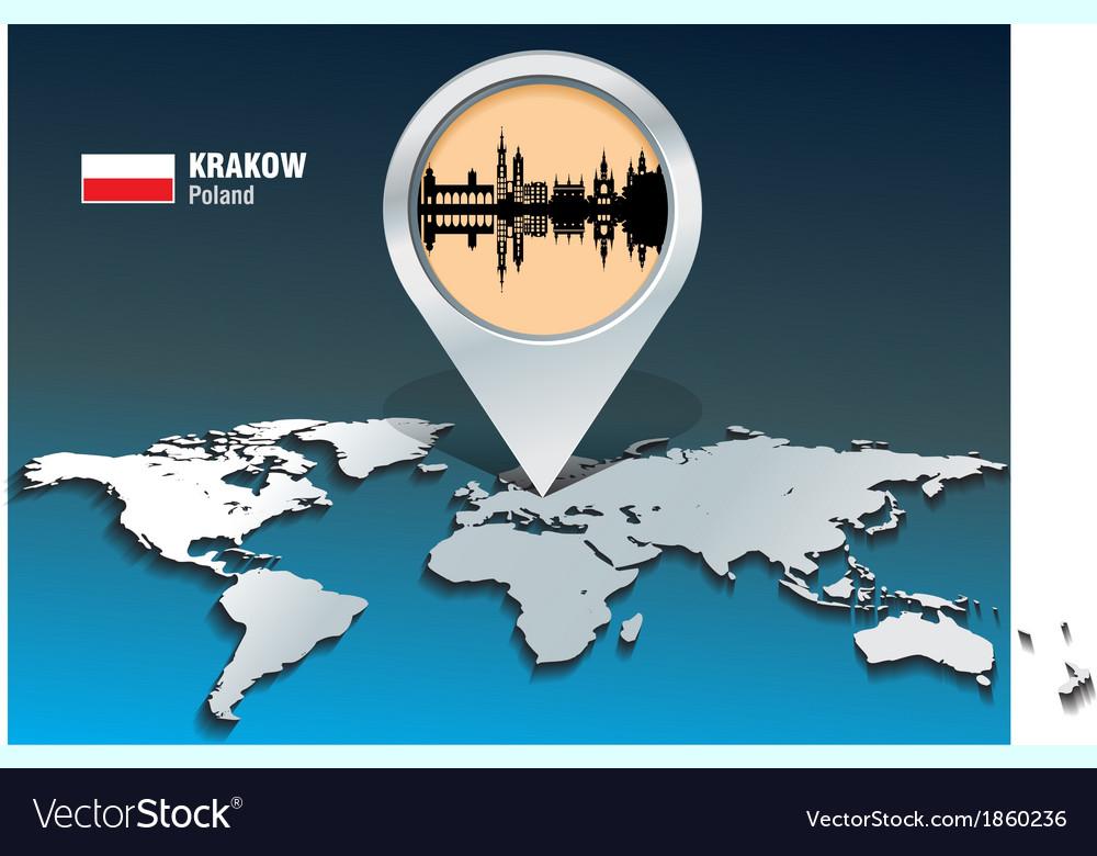 Map pin with Krakow skyline Krakow On World Map on buenos aires world map, bulgaria world map, krakow poland map, jakarta world map, quito world map, sicily world map, ashdod port map,