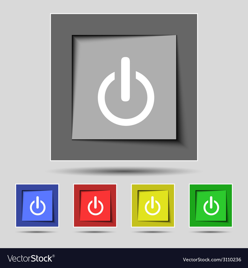 Power sign icon Switch symbol Turn on energy Set Vector Image