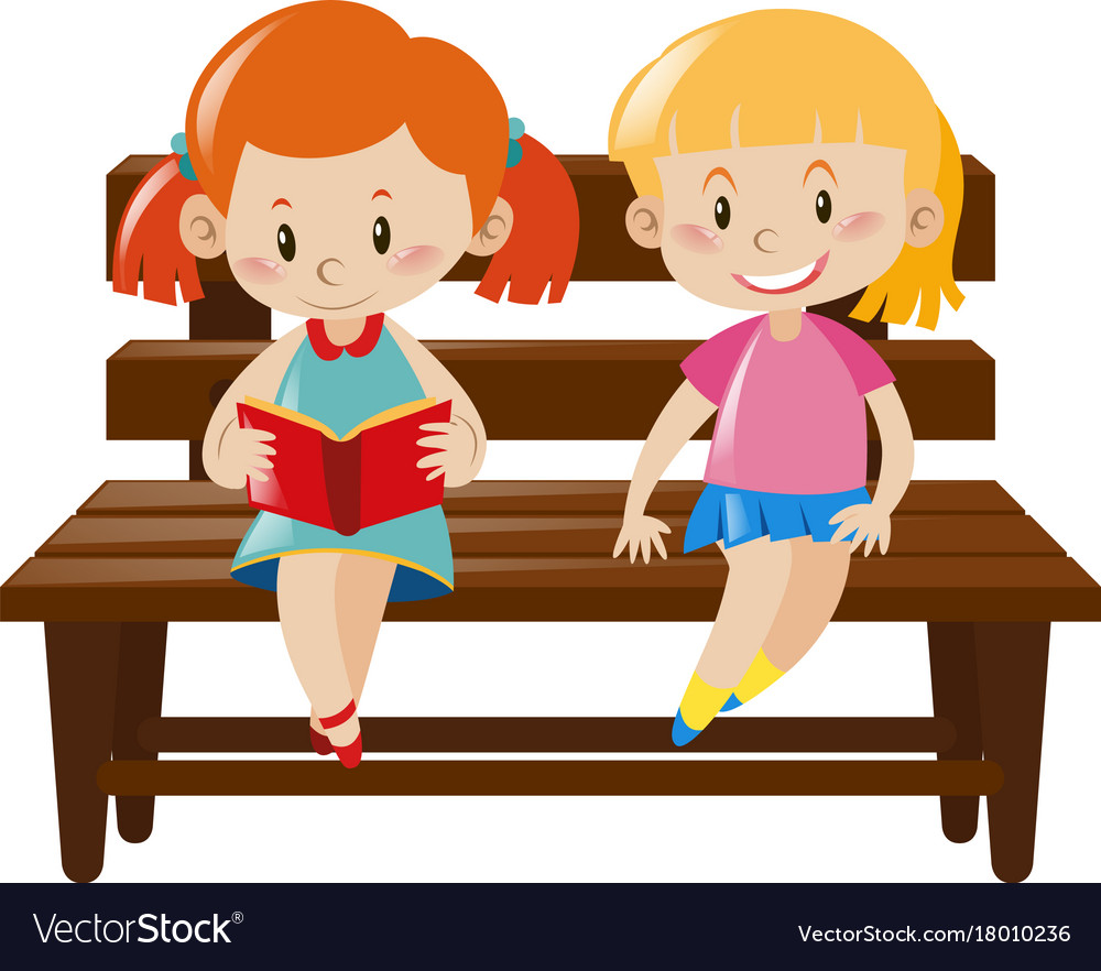 Super Two Girls Sitting On Wooden Bench Ocoug Best Dining Table And Chair Ideas Images Ocougorg