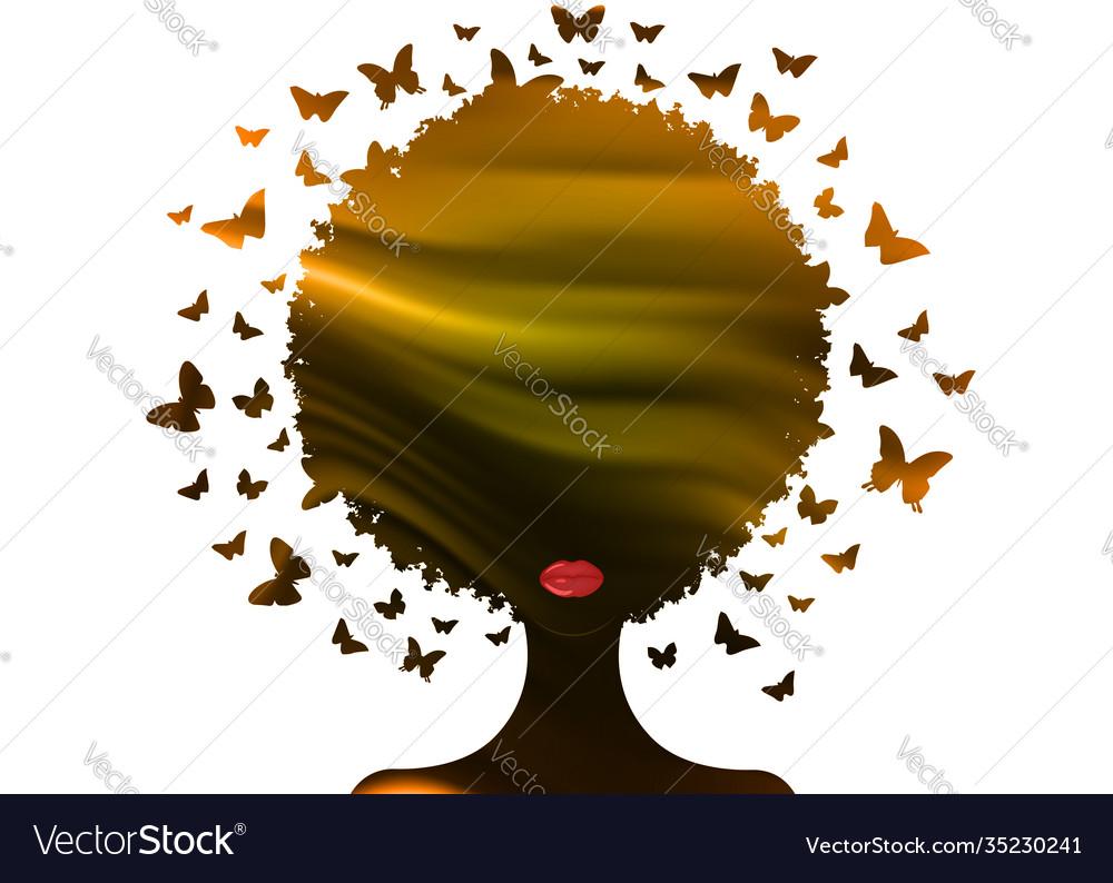 Beautiful african woman swarm butterflies hair