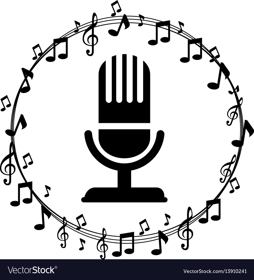 Border musical notes with microphone vector image