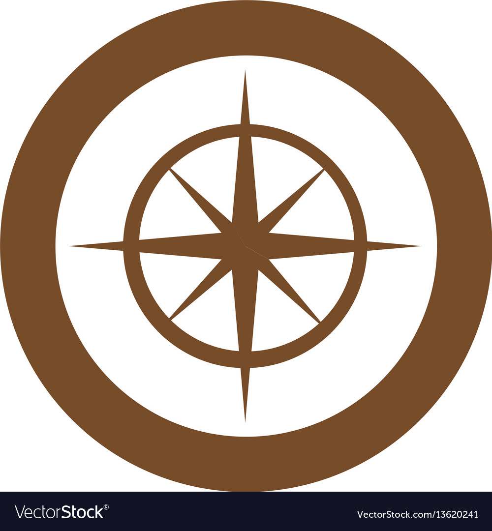 Brown symbol compass star icon