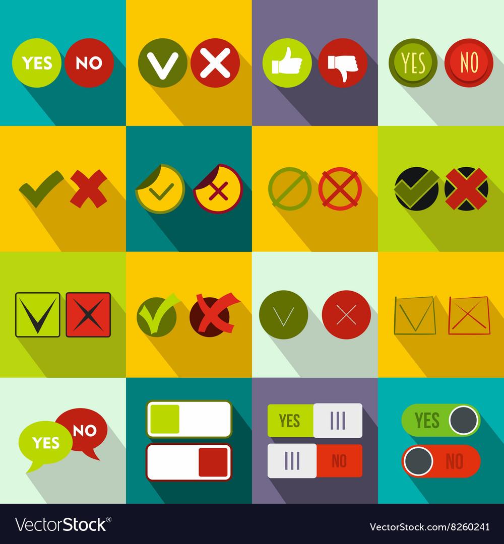 Check mark icons set flat style