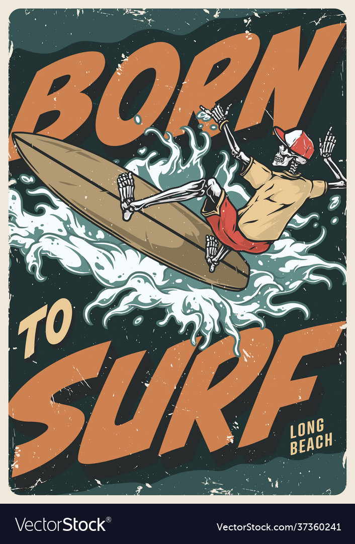 Extreme surfing vintage colorful poster