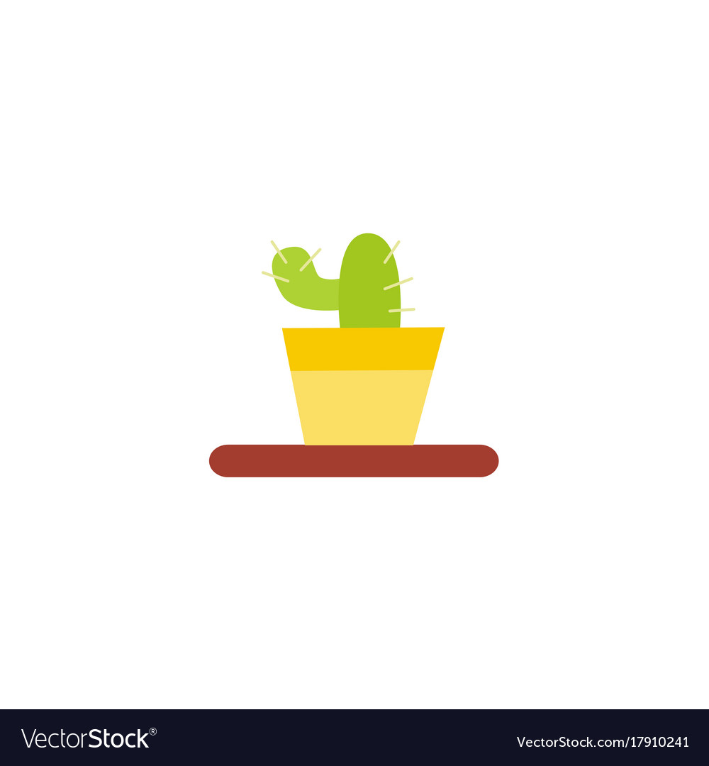 Flat style cactus home interior decoration object vector image