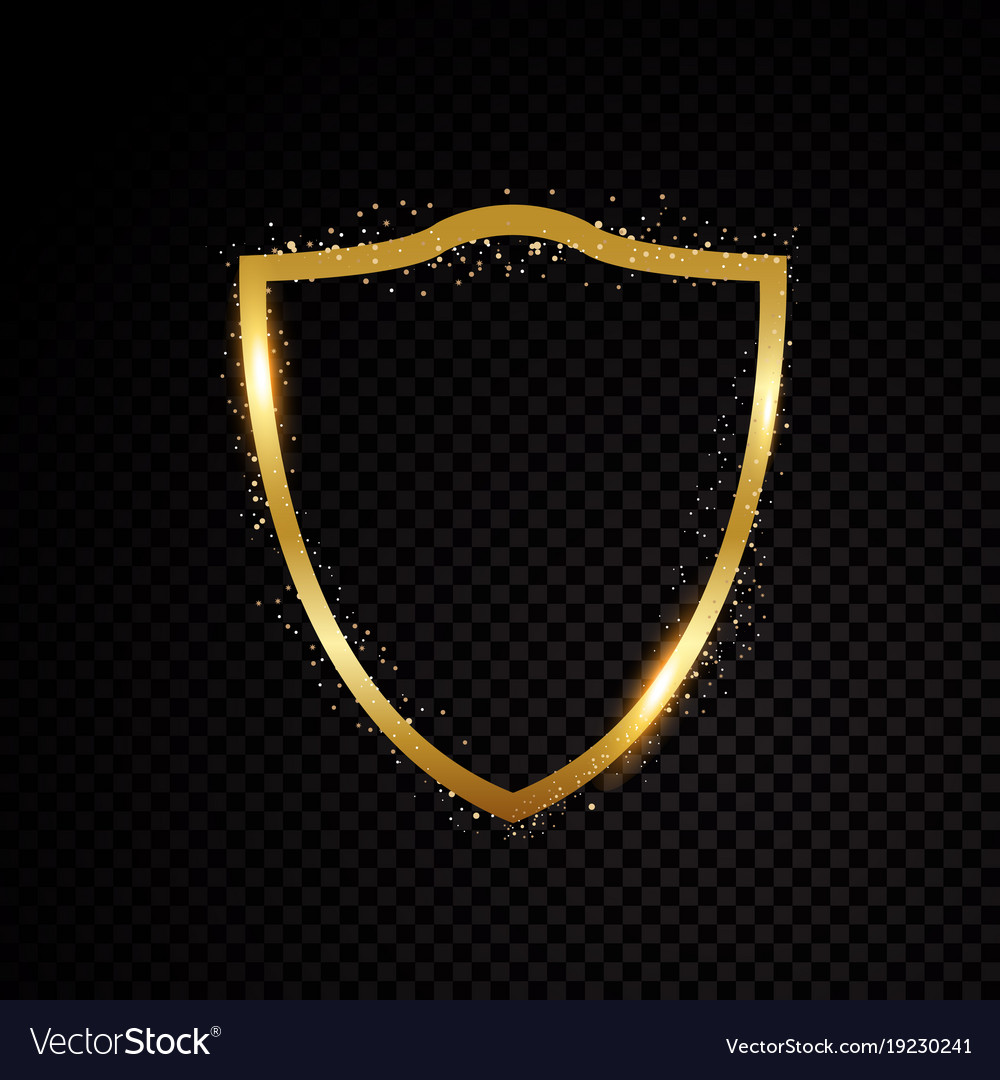 Gold brightly shield glowing security protection vector image