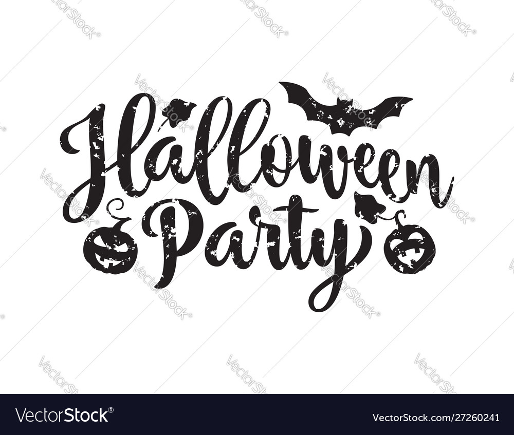 Halloween party poster hand drawn lettering with