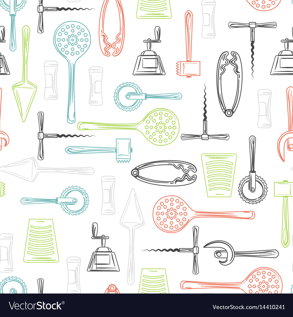 Kitchen utensils color seamless pattern