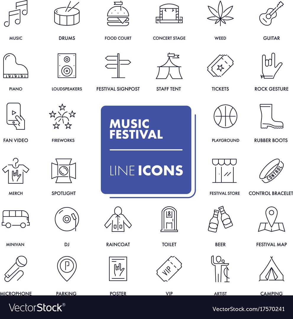Line icons set music festival