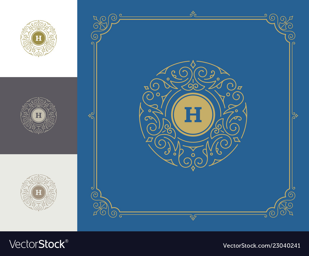 Luxury logo template vintage flourishes