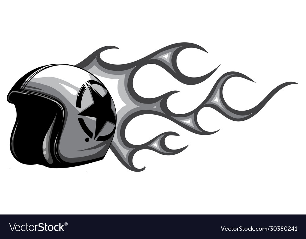 Motorcycle helmet open face with flames