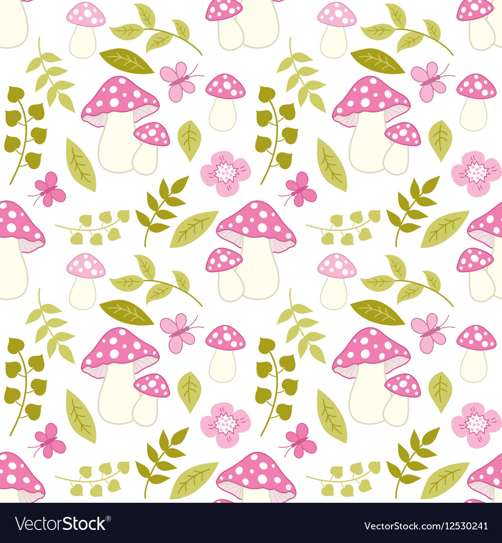 Seamless pattern with amanita flower and leaf vector image