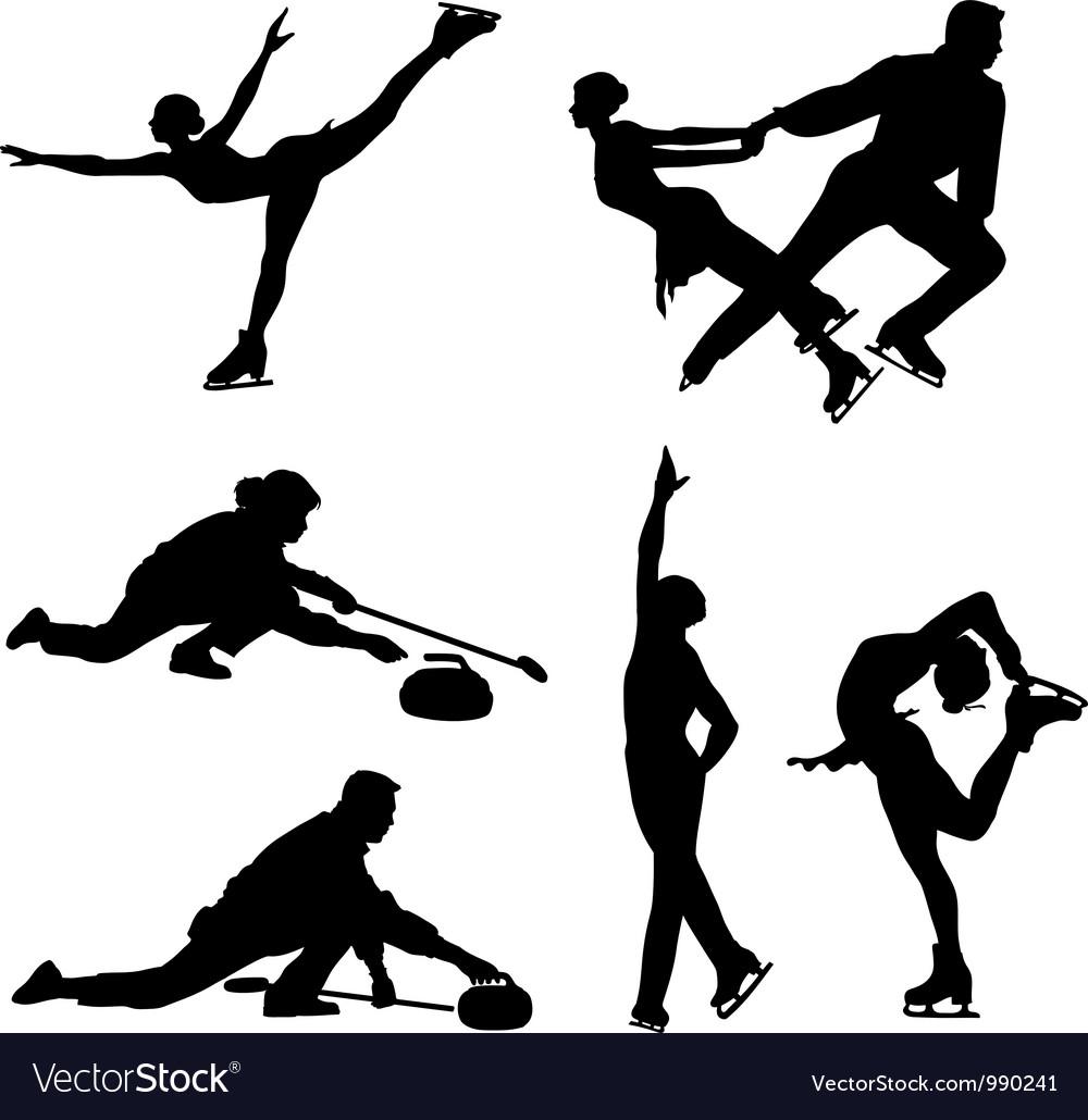 Sports on ice black icon set vector image