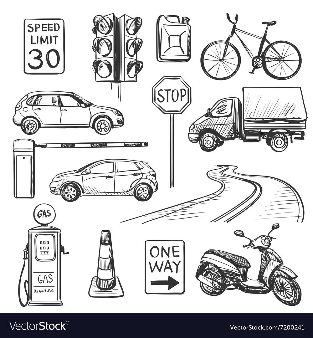 Traffic hand drawn icons set Royalty Free Vector Image