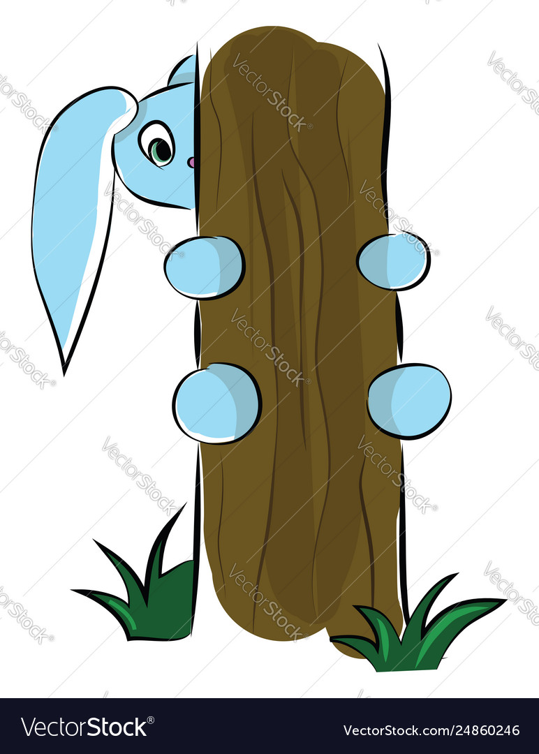 A cute blue cartoon hare trying to climb up the