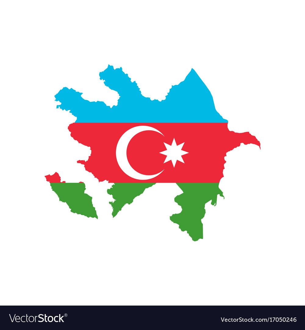 Azerbaijan Map And Flag Royalty Free Vector Image