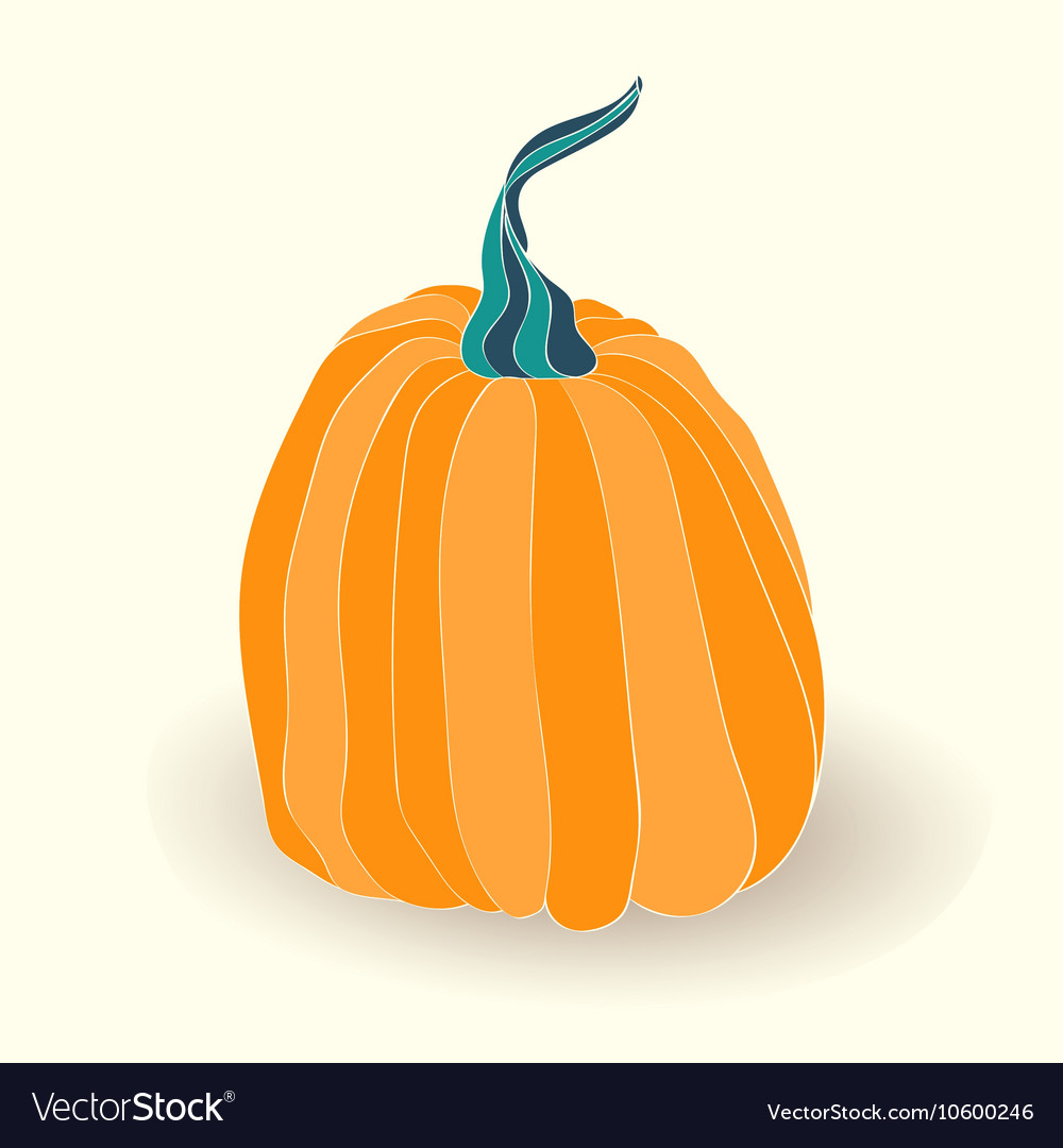 Card with pumpkin on white background