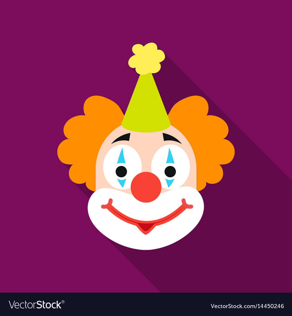 Clown icon in flat style isolated on white