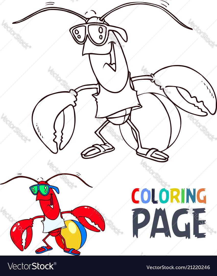 Crab cartoon coloring page