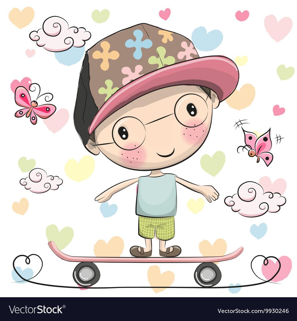 Cute Boy wiht a cap on a skateboard