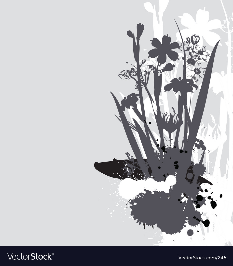 Flowers and ink drips monotone vector image