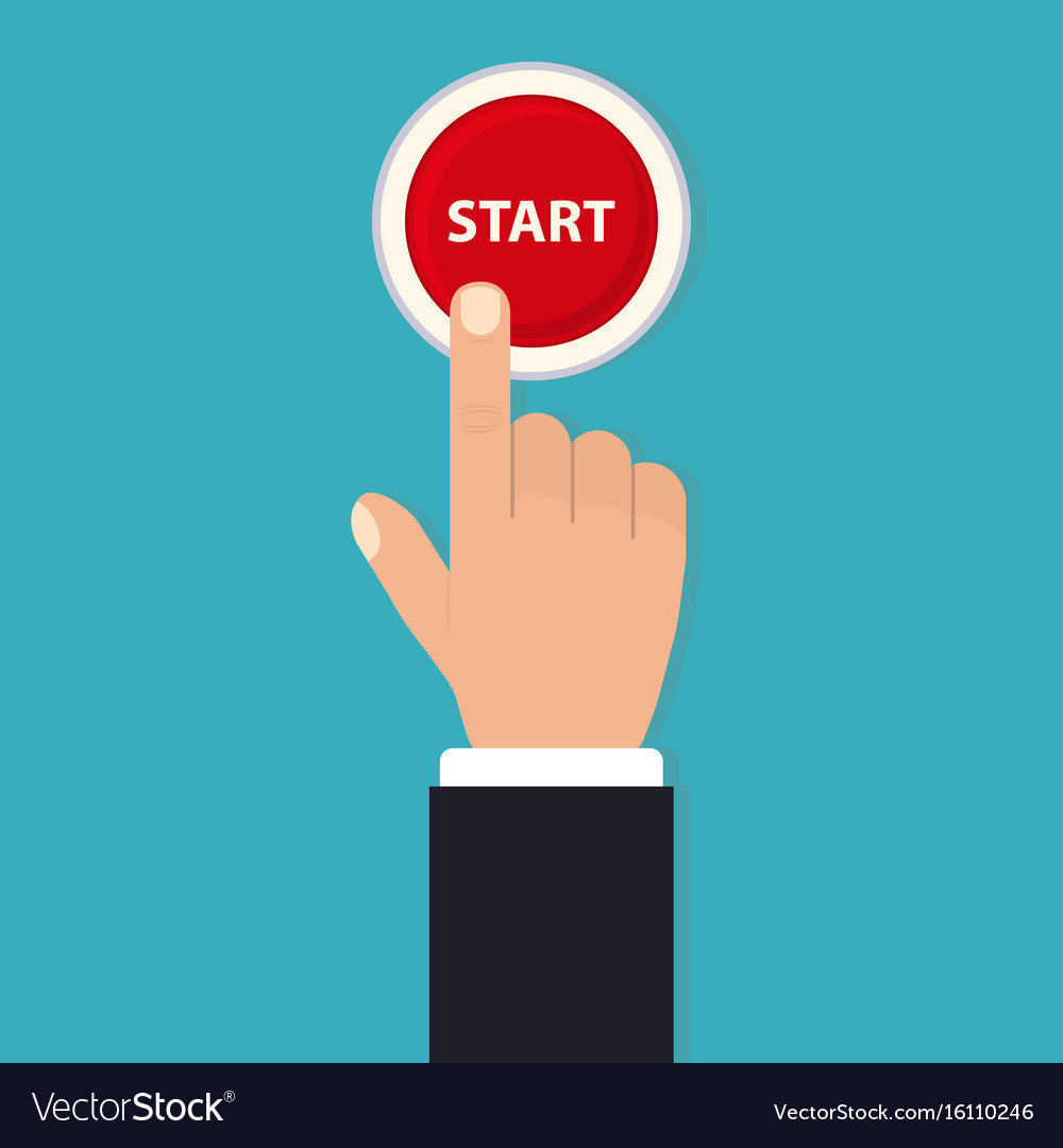 Hand push start press the button flat style