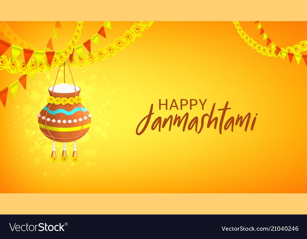 Happy janmashtami design banner