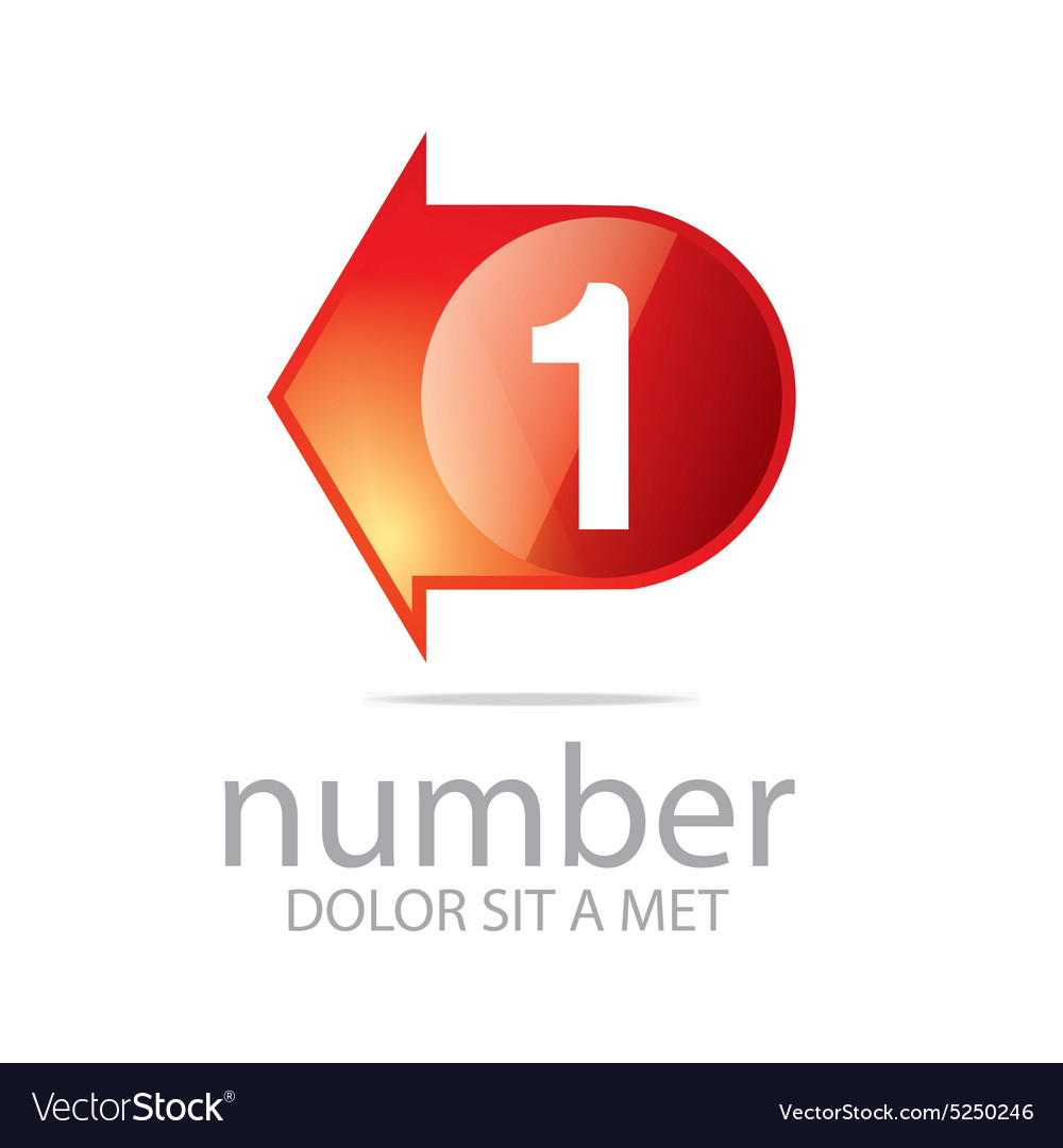 Logo number 1 figure arrow left red icon