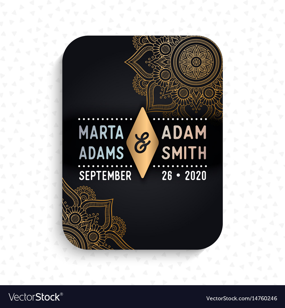 Luxury wedding card invitation vector image