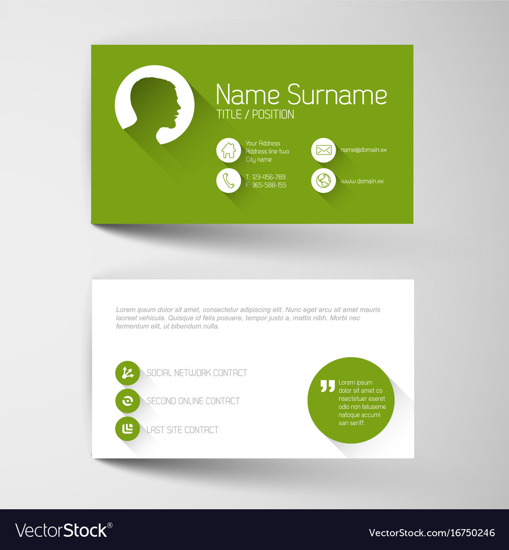 Modern green business card template with flat vector image wajeb Gallery
