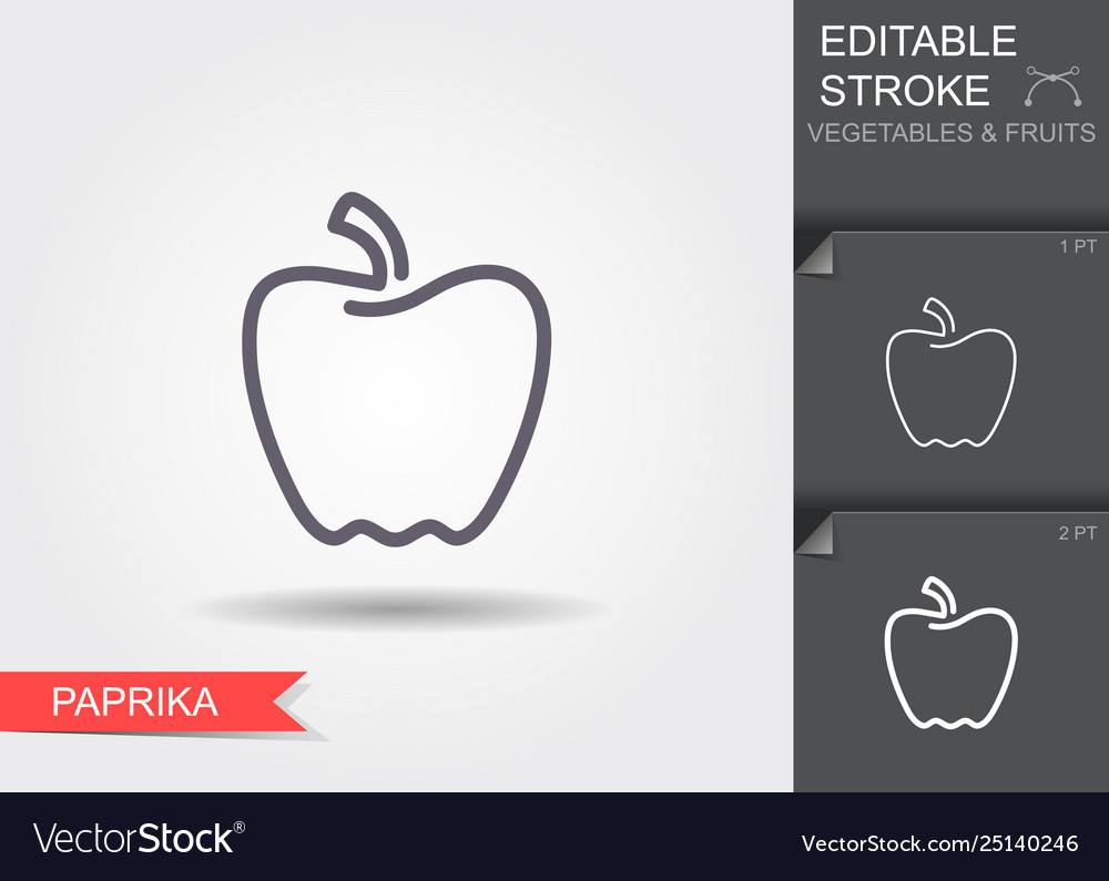 Paprika line icon with editable stroke with