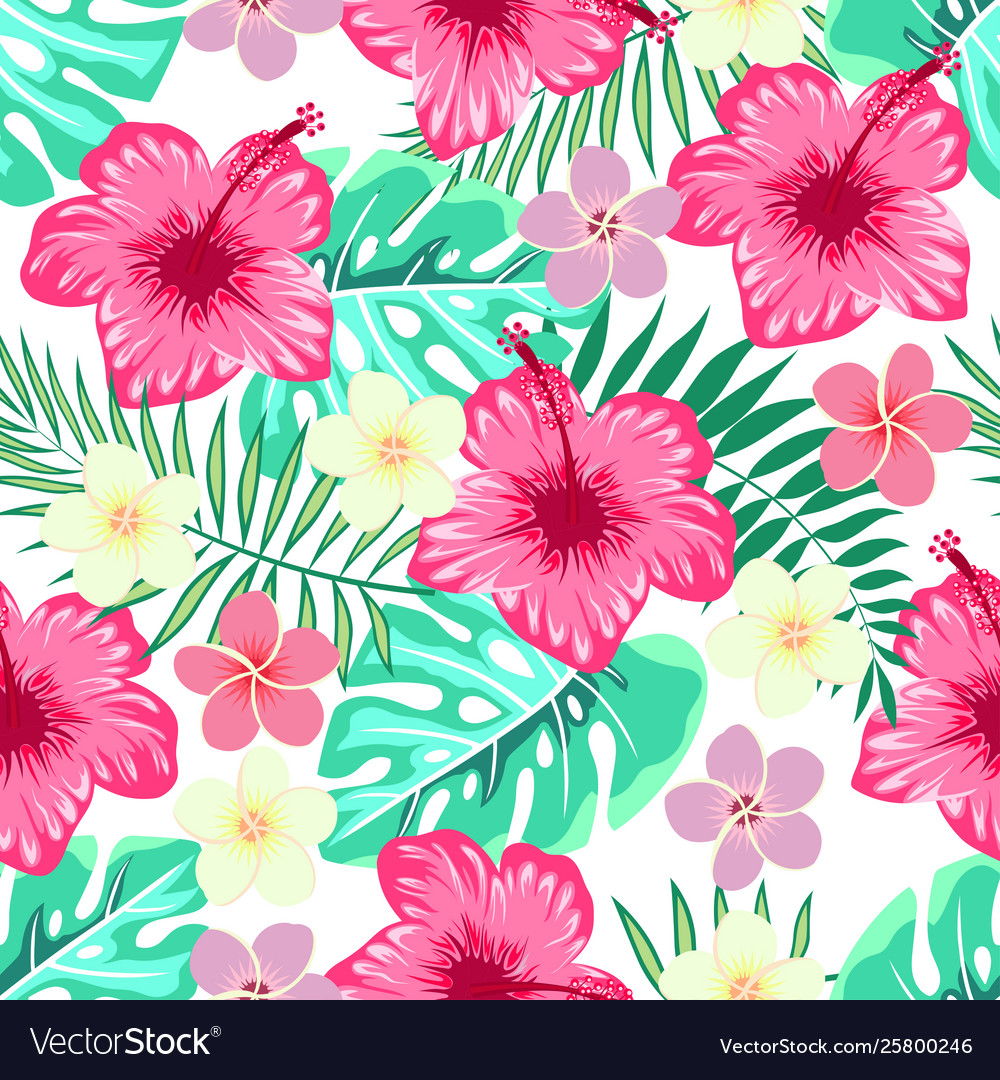 Pattern hibiscus and tropical leaves