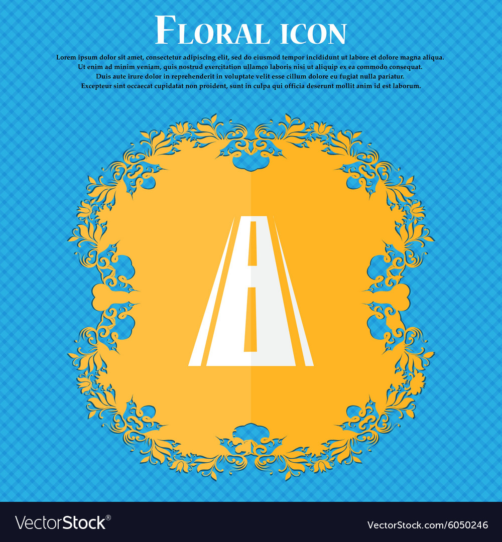 Road icon sign Floral flat design on a blue