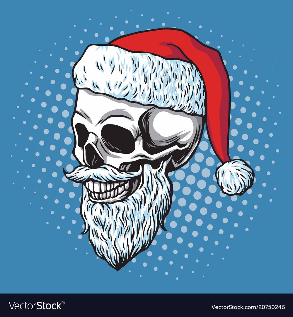 Santa claus skull bearded cartoon