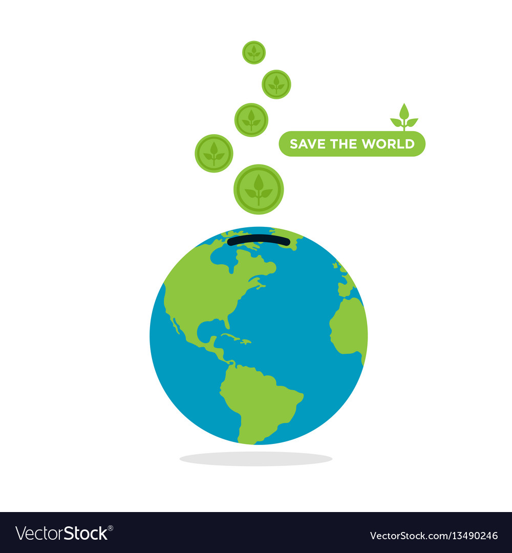 Save The World Concept Flat Design Royalty Free Vector Image
