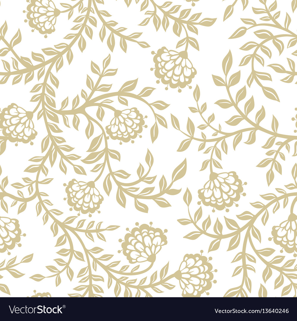 Seamless lace flowers on beige
