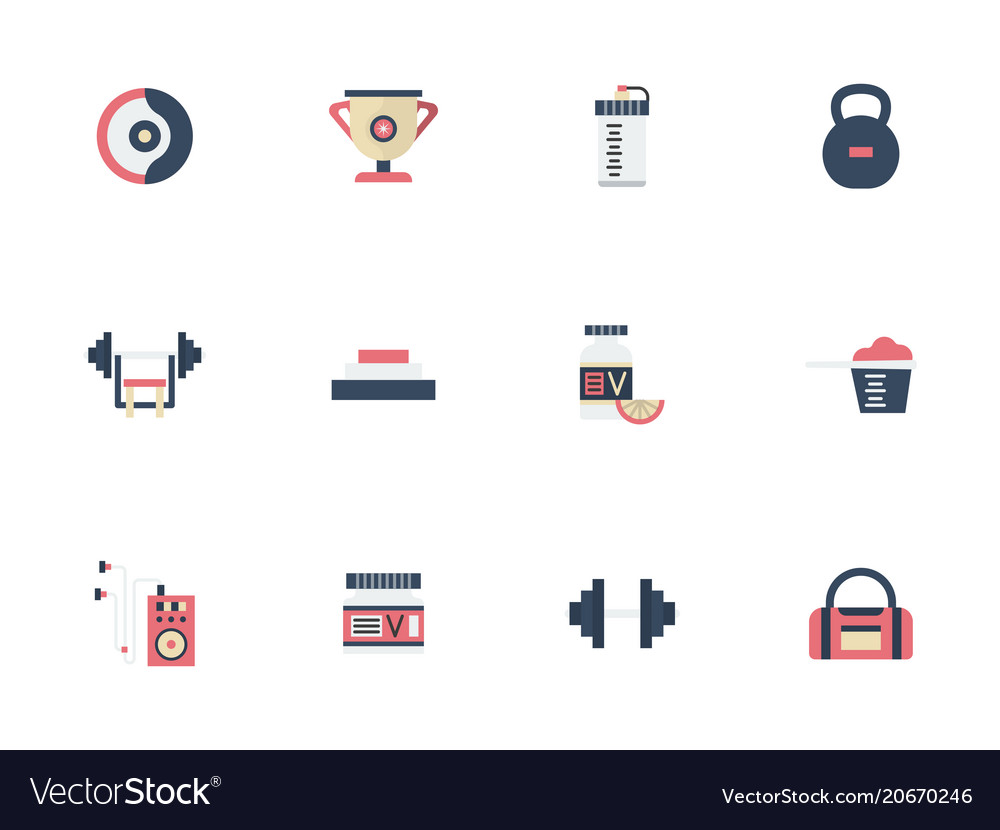 Sports and dieting flat color icons set
