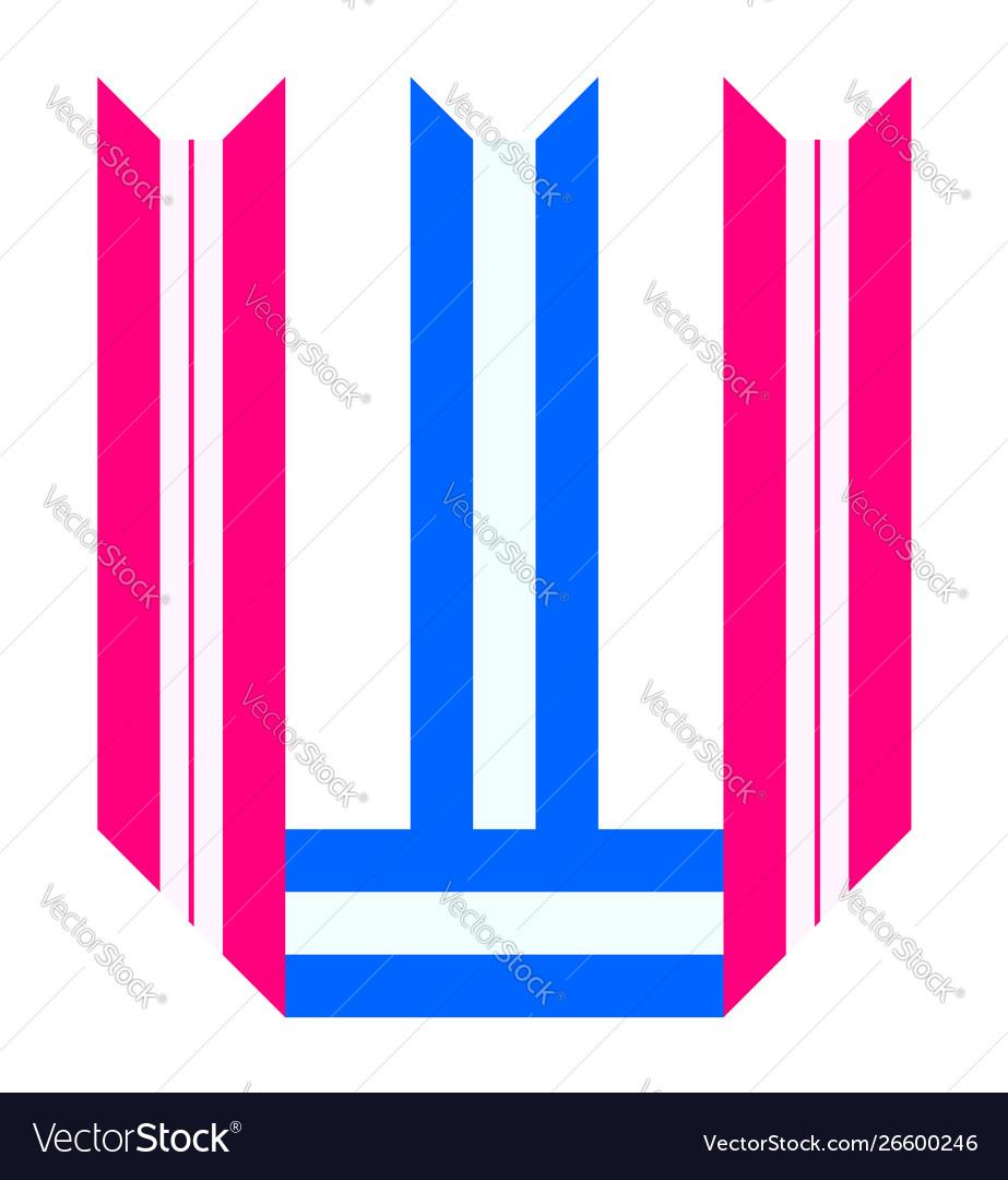 Trendy alphabet letter folded from paper tape