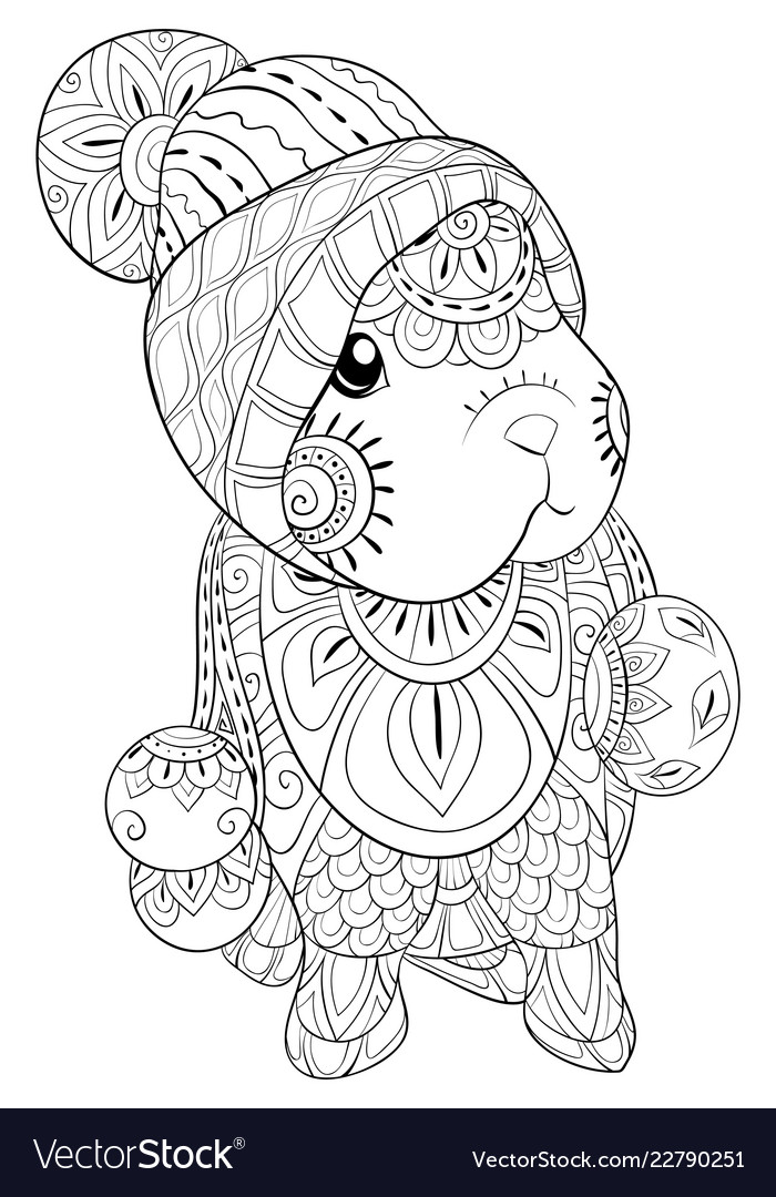 Adult coloring bookpage a cute little rabbit