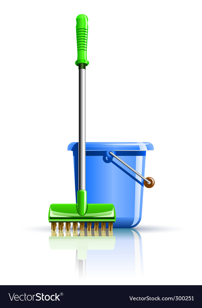 Bucket and mop for cleaning