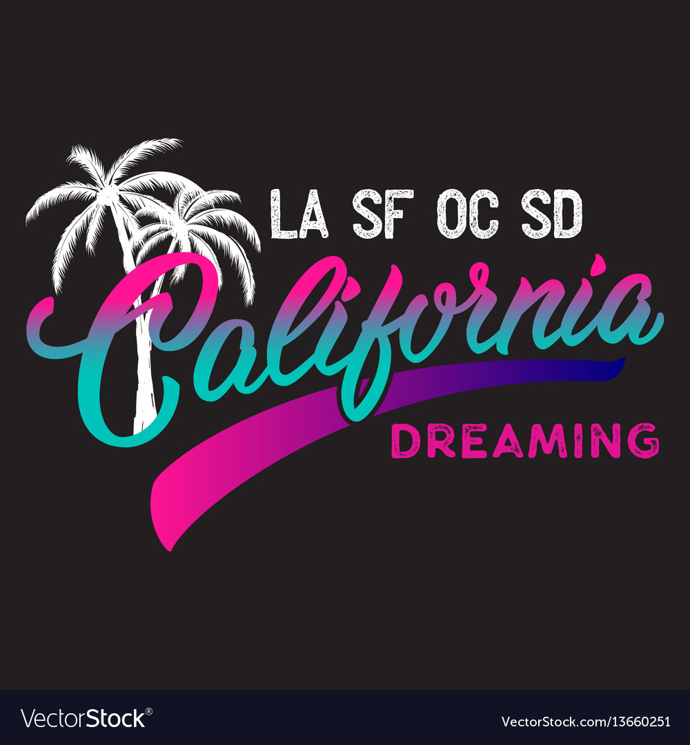 California calligraphic design with palm