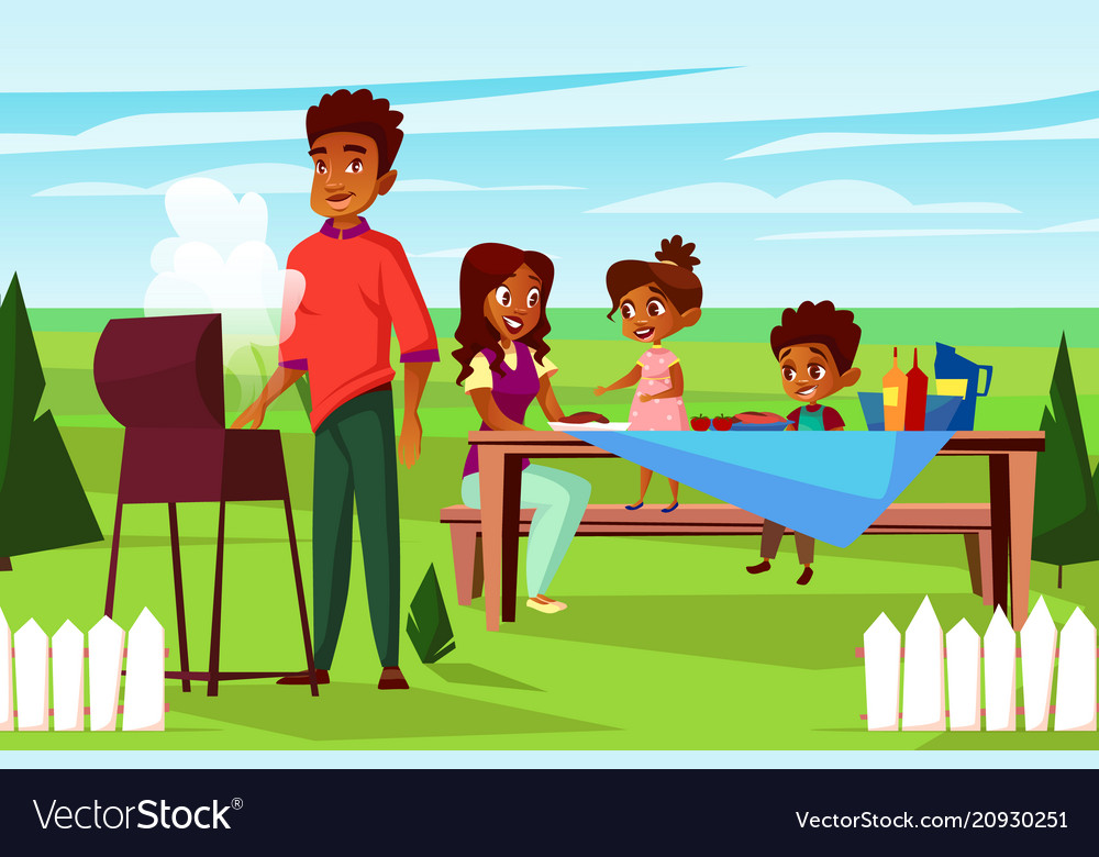 Cartoon african family at picnic bbq party